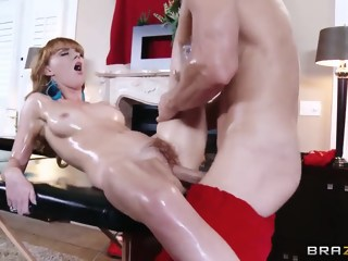 Hot redhead Marie McCray gets her body oiled and fucked by Santa red head toys xxxvideo