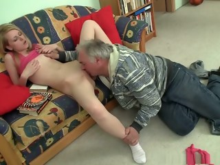 Old fart talks this little blonde into oral sex and letting him bang her   xxxvideo