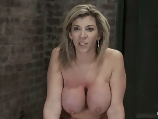 Hot blond MILF has her monstrous tits brutally bound to her ankles & kneesSquirts when she cums!   xxxvideo