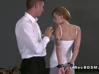 Handcuffed redhead sub gets fucked from behind fetish facial xxxvideo