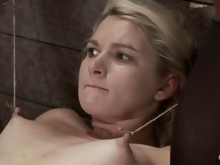 Shy sexy blond girl is trapped, bound, humiliatedLong legs spread wide, made to cum like a whore   xxxvideo