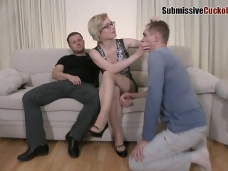 Dirty minded blonde milf is having a wild anal threesome with two horny guys, on the sofa blonde minded xxxvideo