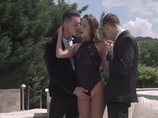 Slim, filthy rich chick, Amirah Adara is having casual sex with two guys, because she likes DP rich filthy xxxvideo