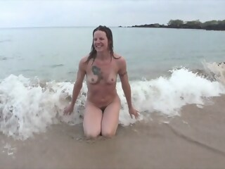 Smiley Blonde MILF nude at the beach and after a shower milf blonde xxxvideo