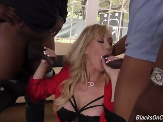 Brandi Love could not skip fucking a handsome black guy while the other one was jerking off skip love xxxvideo