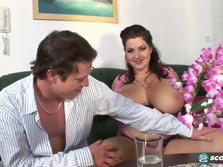 Chubby lady, Angelina Vallem was rubbing her partner's huge dick against her very big tits angelina lady xxxvideo