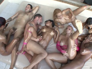 A very slippery orgy outside full of pornstars outside orgy xxxvideo