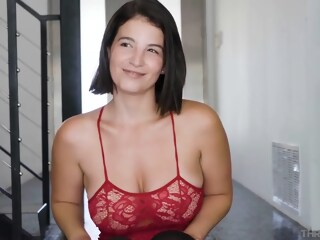 Hot brunette in red, lacy lingerie is sucking a fat cock to make it explode lacy red xxxvideo
