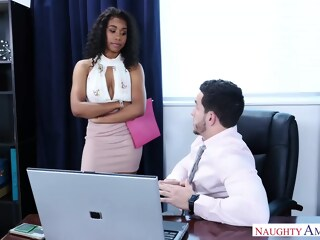 Gorgeous, black chick, Jenna Foxx likes to have sex with her boss, as often as possible chick black xxxvideo