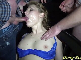 The awesome bar gangbang with 30 guys continues. milf facial xxxvideo