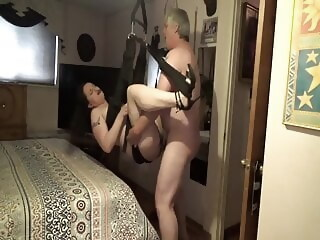 Tisha's Biker Bull Fucked her in the Swing swingers creampie xxxvideo