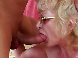 Czech blonde granny with glasses gets fucked by young cock cumshot blowjob xxxvideo