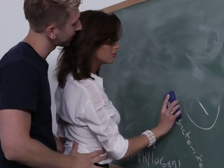 Fucking his teachers good & hard milf brunette xxxvideo