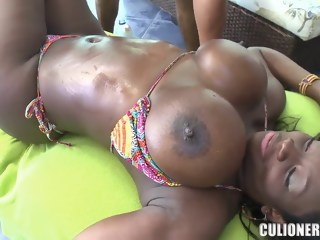 Big titted chocolate chick Karina is being pleased straight hd xxxvideo