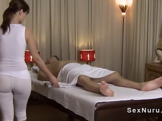 Busty masseuse in undershirt gives massage massage fetish xxxvideo