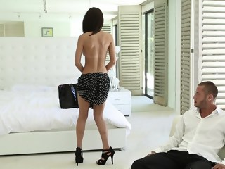 Super cute Naughty Schoolgirl Dillion brunette blowjob xxxvideo