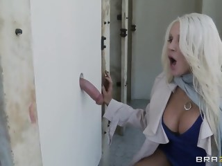 Glory hole sex action with busty blonde Holly blowjob big tits xxxvideo