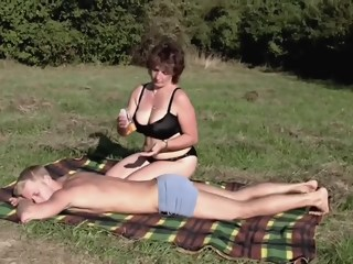 Brunette BBW-Milf Outdoors by Young Guy big tits outdoor xxxvideo
