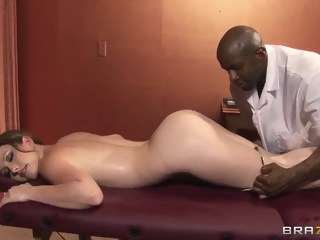 Jennifer White has some fun with a black masseur creampie anal xxxvideo