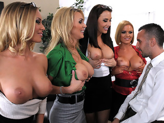 Office 4-Play: Christmas Edition! brunette group sex xxxvideo