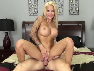 Ravishing blonde milf with big round boobs Helly fucks a young stud   xxxvideo