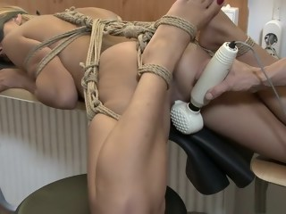 Blonde bitch is tied up on the floor and made to get him off and get a facial   xxxvideo