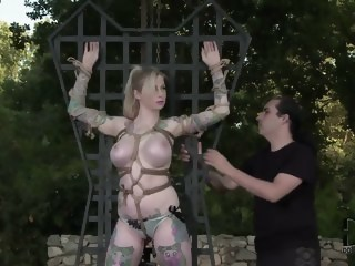 Hollie Hatton is being tied up hard by a man and dominated by hom outdoor blonde xxxvideo
