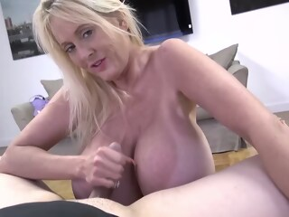 Mature blonde woman with massive milk jugs is getting her daily dose of fuck in the bedroom woman blonde xxxvideo
