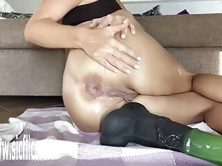 Buried Horse Dick Balls Deep in Her Ass sex toy anal xxxvideo
