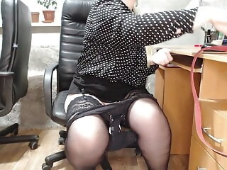 Secretary at work (change of panty liner and anal plug) stockings sex toy xxxvideo