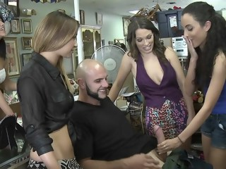 Back to the shop for some group sex hardcore brunette xxxvideo