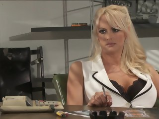 Busty and arousing nurse Stormy Daniels poses in office fetish big tits xxxvideo